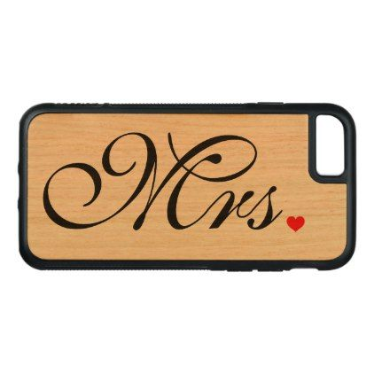 #Mrs Wedding Couple Carved iPhone 8/7 Case - #wedding gifts #marriage love couples