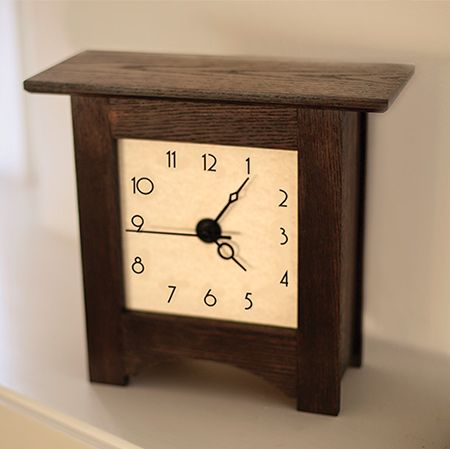 This modern take on a grandmother clock looks wonderful on a mantel or shelf, and you can stain the finished project to match your decor. There are various suppliers around the country that offer a selection of clock movements and hands that you can choose from.