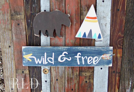 Woodland Nursery Decor Rustic Set, Teepee Bear Moose and Arrow Decor, Rustic Nursery, Teepee Wood Sign, Camping Theme Decor, Hunting Nursery