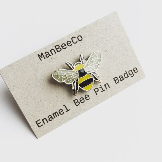 Bee enamel pin badge in Yellow + Black + Grey enamel Perfect for a Mancunian as the symbol of Manchester is the Worker Bee Perfect for a