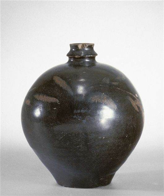 Ovoid bottle with bird motif. Stoneware with iron-brown slip and iron glaze. Song dynasty, 12th/13th Century. Height: 8 3/4 in. 22.2 cm. 62.117. Gift of Mr. and Mrs. George Green. Photo ©2012, Detroit Institute of Arts.  Provenance: Formerly in the collection of James Marshall Plumer