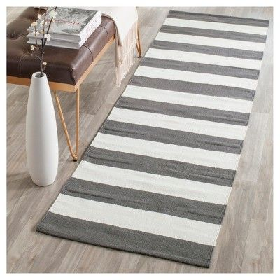 Best Gray Ivory Stripe Flatweave Woven Runner 2 3 X5 640 x 480