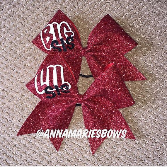 Big Sis Lil Sis Bow Set. Glitter bows. Bigs and Littles. Sorority. Cheerleading squad. Cheerleader gifts. Cheer bows. Cheerleading coach.