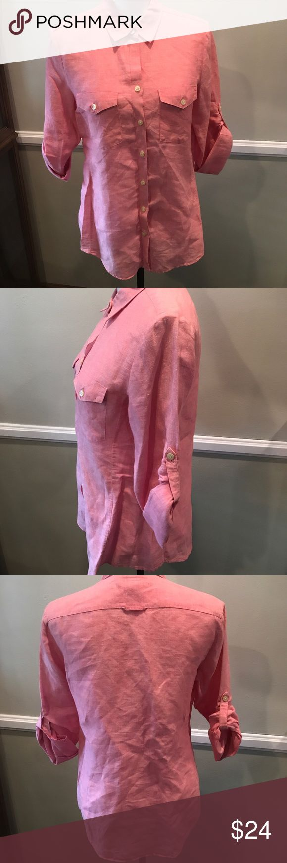 Banana republic pink button down Tshirt longsleeve Armpit to armpit across is 19.5 inches, total length is 29 inches. Great condition Banana Republic Tops Button Down Shirts