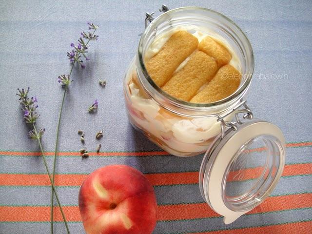 Tiramisu alle Pesche...Peach Tiramisu w/yogurt, mascarpone, thyme & ladyfingers~IN A MASON JAR!!!