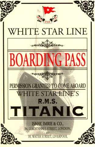 Titanic boarding pass invitations wedding