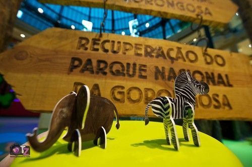 These adorable elephant and zebra cut-outs were part of an exhibit at the Centro Comercial Colombo in Lisbon, Portugal, highlighting Mozambique's spectacular Gorongosa National Park and the Gorongosa Restoration Project.