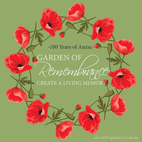100 years of Anzac Garden of rememberance create a living memory in the garden aboutthegarden