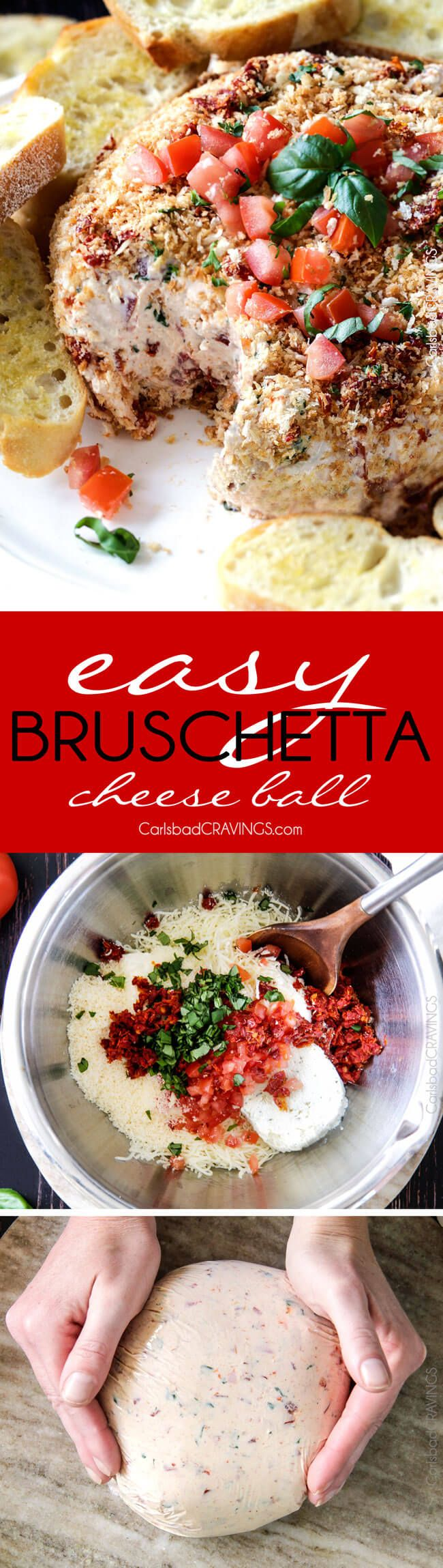 Super easy Bruschetta Cheese Ball takes just minutes to whip up and is always a total show stopper, make ahead appetizer! Loaded with fresh tomatoes, sun-dried tomatoes, fresh basil and garlic and herb cream cheese then rolled in crispy panko breadcrumbs all served with toasted baguette slices! So irresistibly delicious!
