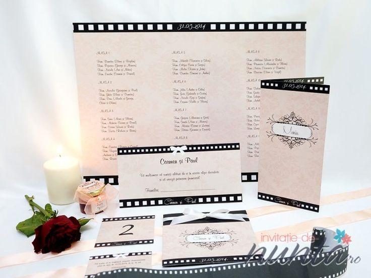 Lista cu asezarea invitatilor la mese roz Hollywood, perfecta pentru a completa un decor de nunta elegant, cu tematica Film.