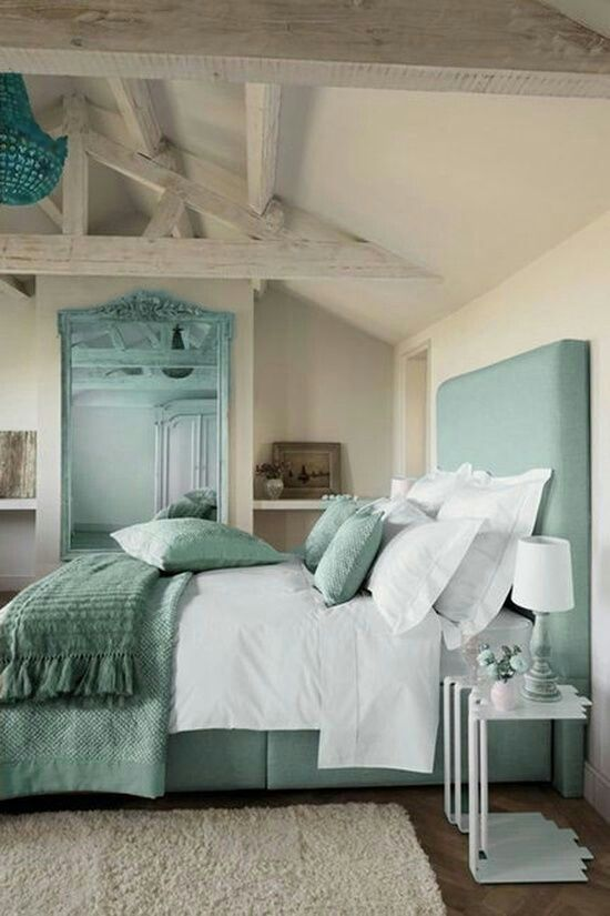 Love these calm bedroom colors - creams and teal/turquoise