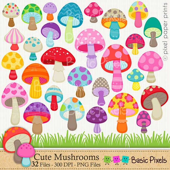 Mushroom clipart  Digital Clip Art  Personal and por basicpixels