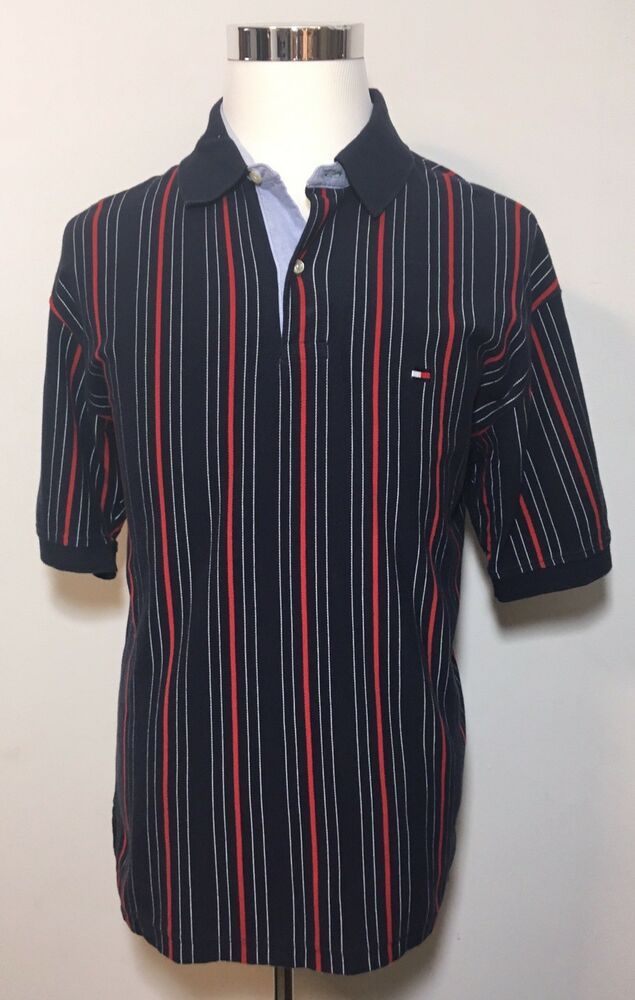 04f8102576961 Vintage 90's Tommy Hilfiger Red White Blue Vertical Striped Polo ...