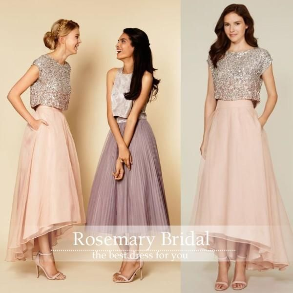 New Arrival Gold Sequins Sleeveless Jewel Ankle Length Bridesmaid Dresses 2016 Sexy Two Pieces Chiffon Summer Prom Party Dress Gowns Cheap Yellow Bridesmaid Dresses Blue Bridesmaid Dresses From Rosemarybridaldress, $95.48| Dhgate.Com