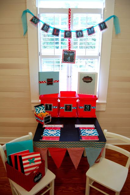 Go back to school in style and keep organized Red & Aqua Classroom Design Kit ~ Simply Sprout
