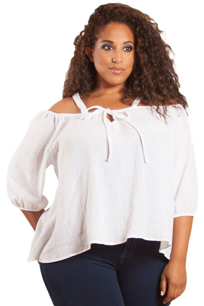 White Plus Size Sleeved Off Shoulder Gauze Top