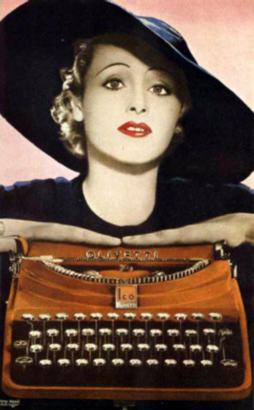 Manifesto pubblicitario per la macchina per scrivere MP1, la prima portatile Olivetti entrata in produzione nel 1932, disegnato dal pittore Xanti Schawinsky nel 1935.