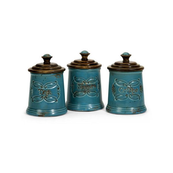 IMAX Home 5506-3 Provincial Canisters - Set of 3 Home Decor ($103) ❤ liked on Polyvore featuring home, kitchen & dining, food storage containers, accents, canisters, home decor, tea cannister, coffee canister, sugar canister and tea canister