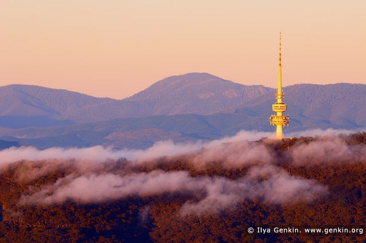 Black Mountain Tower (Telstra Tower) at Sunrise, Canberra, ACT, Australia. First light of the rising sun highlighted the Black Mountain Tower (formerly known as Telstra Tower) in Canberra, ACT, Australia and surrounded hills and mountains in rich yellow and orange colours.