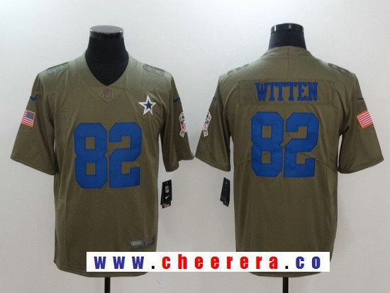 3e2430b3c6e77 ... Mens Dallas Cowboys 82 Jason Witten Olive 2017 Salute To Service  Stitched NFL Nike Limited ...