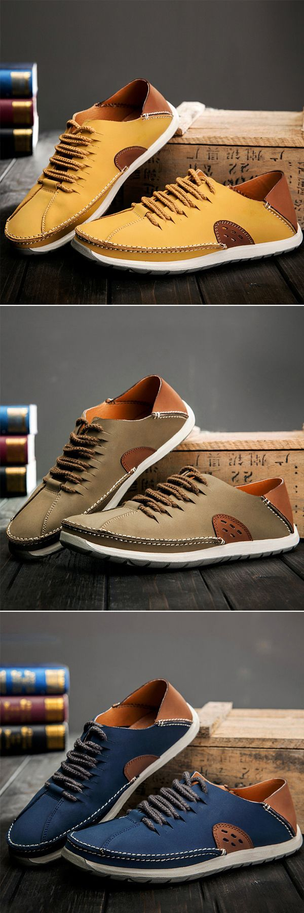 Men Stylish Pure Color Soft Non-slip Lace Up Outdoor Casual Leather Shoes -  http