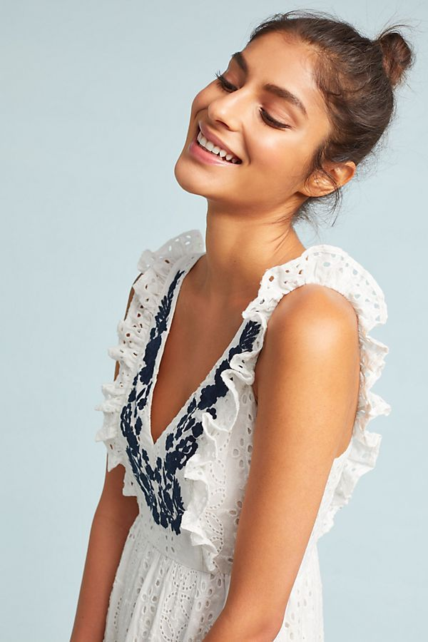 5a0706bf5 Embroidered Eyelet Midi Dress in 2019 | Anthropologie | Dresses ...