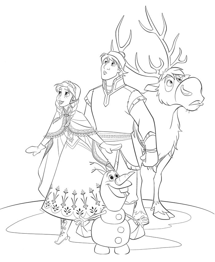 Anna kristoff sven and olaf go on a journey to bring elsa back home have fun with this amazing disney frozen movie coloring page frozen coloring pages