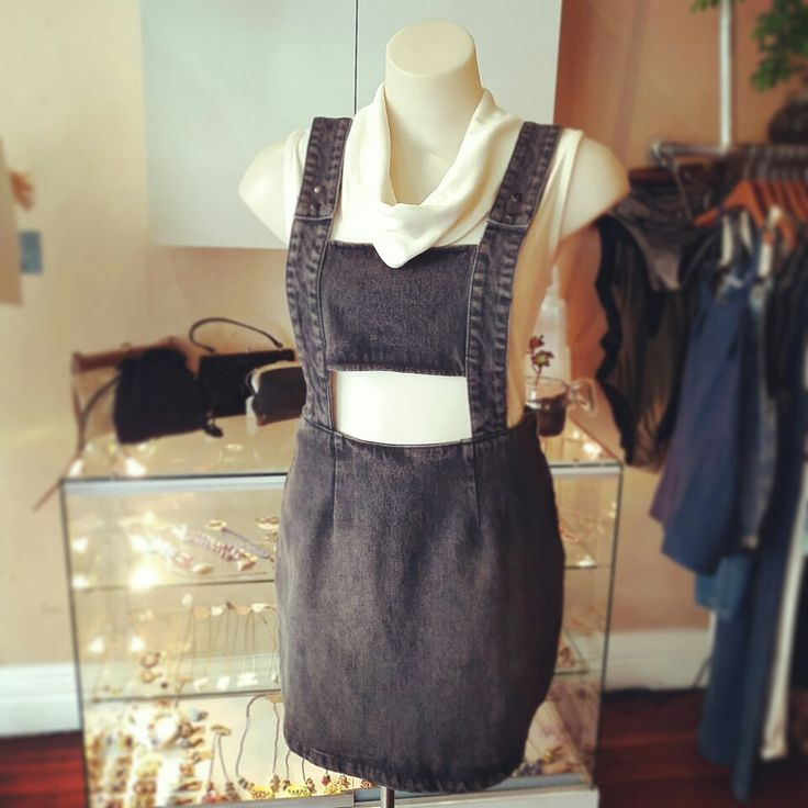 """New Evil Twin """"momentary denim pinnie"""" in washed black and vintage turtle neck top"""