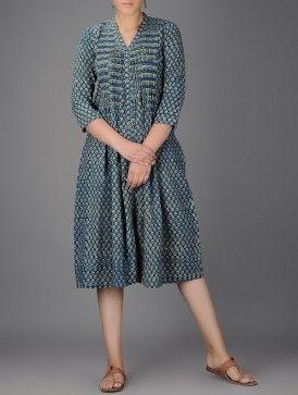 Indigo-Ivory Ajrakh-printed Round Neck Pleated Cotton Dress