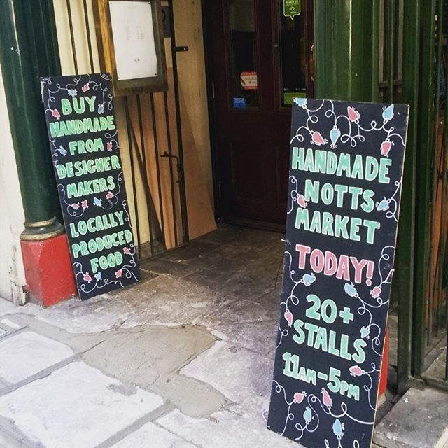 regram @hnmarkets We are open! Even if there is some unexpected concrete at the entrance! We are open till 5pm. Find #hnmarkets #wintermarket #Christmasmarket #Maltcross #itsinnottingham #buyhandmade #shoplocal