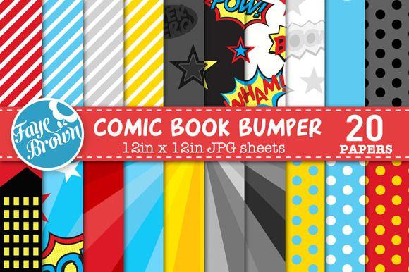 Comic book digital scrapbook paper by Faye Brown Designs on Creative Market