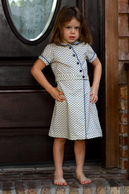 1930's Feed Sack Dress Reproduction Girls by HFeatherFashions, $30.00