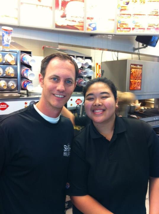Shine FM's Les Moore taking your order with Stephanie from DQ for Miracle Treat Day