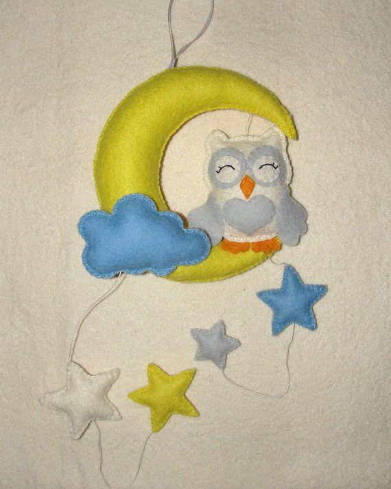 Hanging Baby Decor Owl On The Moon Hanging Baby Crib Mobile