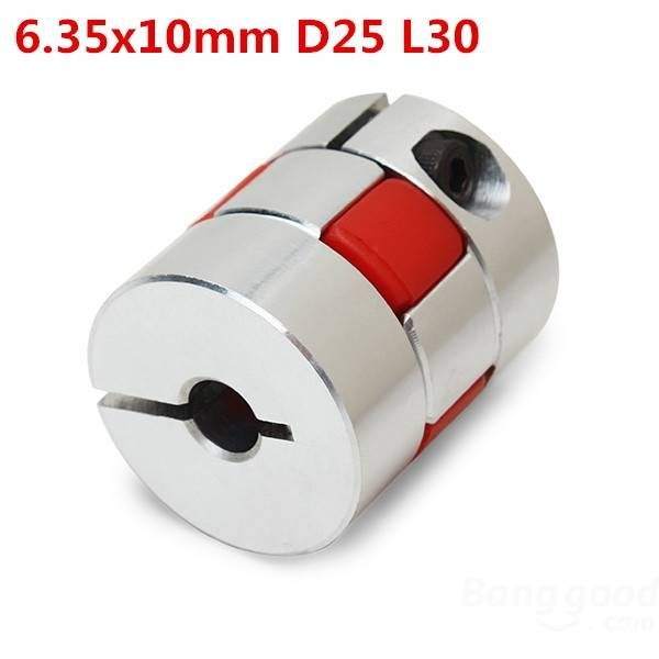 6.35mmx10mm Aluminum Flexible Spider Shaft Coupling CNC Stepper Motor Coupler Connector OD25mm x L30mm