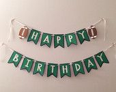 Happy Birthday Pennant Banner with Footballs - Football Themed Birthday Party - Sports Themed Birthday Party - Customize Colors