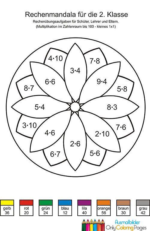 mathe ausmalbilder 2. klasse | Rechenmandalas | Pinterest | Teaching ...