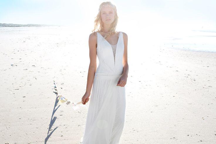 Rembo styling — Vintage — Daphné: Kleid aus Stretch-Jersey mit reduzierte Taille. Spiel von Transparenz und Spitze am Oberteil mit offenem Rücken.