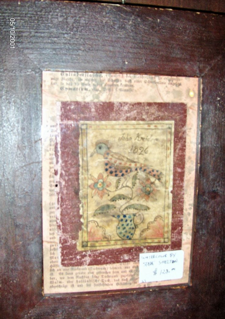 Book Cover Watercolor Paintings ~ Framed book cover of a fraktur bird by steve shelton