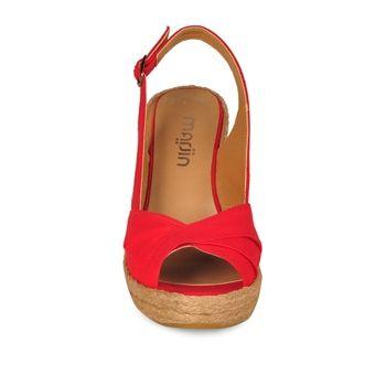 Marjin Linasi Dolgu Topuklu Ayakkabı Kırmızı Keten 69,99 TL