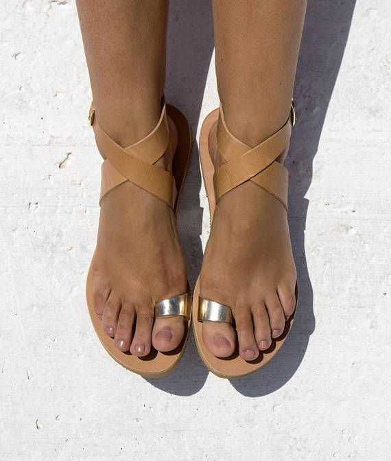 Natural  Gold Leather Sandals   X shape Ancient Greek