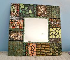 mirror ,wall decor organic, wall mirror, mosaic mirror, shells tiles and colored glass, beach mirror, mixed media mirror, handmade mirror on Etsy, $105.40 AUD