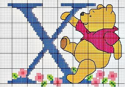 #Monograma Ursinho Pooh - letra X #bordado #CoatsCorrente