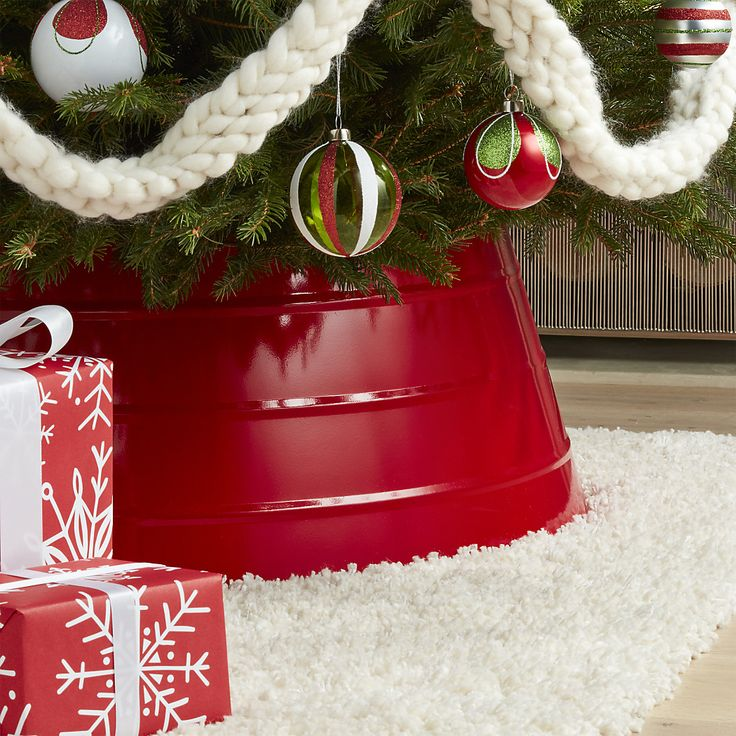 Our Modern Alternative To The Tree Skirt Conceals Christmas Stands With A Pop Of Glossy Red And Textured Steel