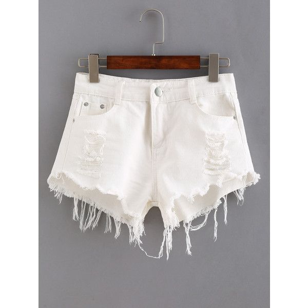 Ripped Raw Hem White Denim Shorts (£10) ❤ liked on Polyvore featuring shorts, white, ripped jean shorts, denim short shorts, white ripped shorts, distressed jean shorts and destroyed shorts