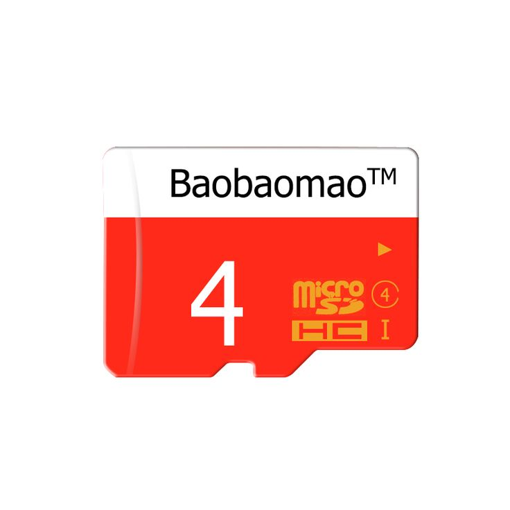 Pure Full 4GB Micro SD Card TF Flash Memory Class 4 Free Adapter Red&White