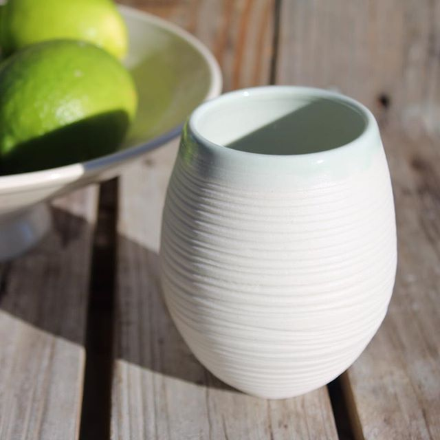 """#summertime is right around the corner ☀️  Just love these little cups...what favorite summer beverage will you fill them with? Myself, I'm leaning toward mojitos  Shop re-stock with more of these coming soon! . #porcelainocean #oceaninspired #oneofakind #handmade #porcelain #ceramics #madeinhawaii"" Photo taken by @zoejohnson on Instagram, pinned via the InstaPin iOS App! http://www.instapinapp.com (04/07/2016)"