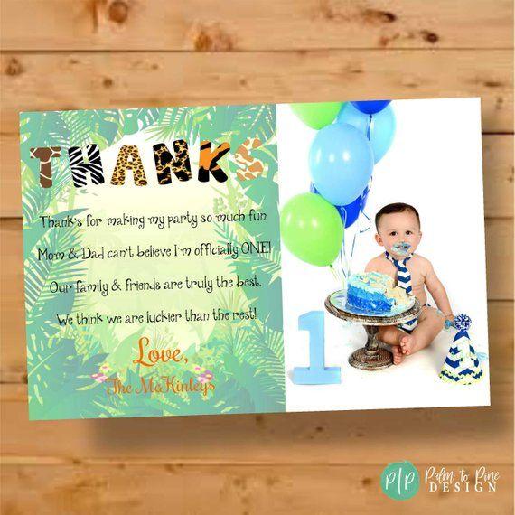 Birthday Thank You Card Jungle Themed Thank You Card Safari Thank You First Birthday Old Birthday Cards Birthday Thank You Cards Jungle Birthday Invitations
