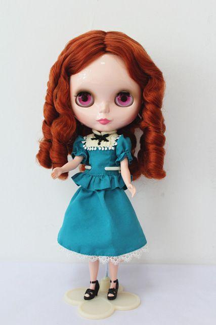 Blygirl Блит кукла Коричневый красный вьющиеся волосы нормального тела 7 суставы белый кожа 1/6 тела подходит для свой собственный макияж
