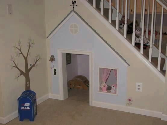 What a fantastic idea, this looks awesome, would love to do this for my kids : ): Playhouses, Cute Ideas, Understairs, Under Stairs, Dogs Houses, Plays Area, Plays Houses, Doghous, Kid